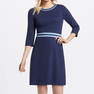 NEW Draper James Solid Blue Persley Ponte Dress L